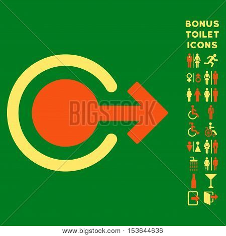 Logout icon and bonus man and female WC symbols. Glyph illustration style is flat iconic bicolor symbols, orange and yellow colors, green background.