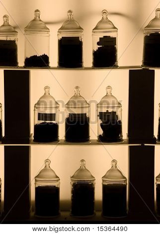 In perfumery factory. France. Vessels outlines in dark light.