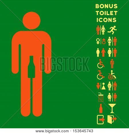 Man beverage icon and bonus man and lady lavatory symbols. Glyph illustration style is flat iconic bicolor symbols, orange and yellow colors, green background.