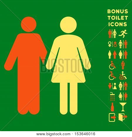 Married Couple icon and bonus man and female lavatory symbols. Glyph illustration style is flat iconic bicolor symbols, orange and yellow colors, green background.