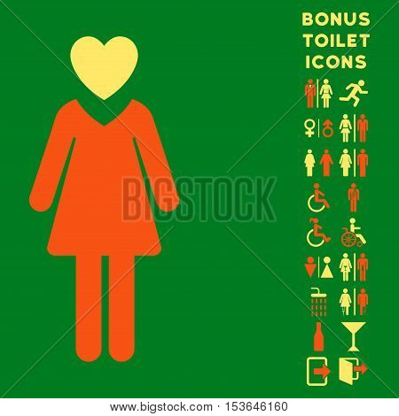 Mistress icon and bonus gentleman and woman restroom symbols. Glyph illustration style is flat iconic bicolor symbols, orange and yellow colors, green background.