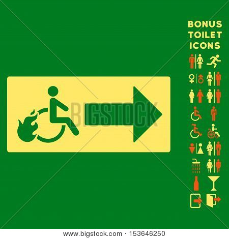 Patient Exit icon and bonus gentleman and woman WC symbols. Glyph illustration style is flat iconic bicolor symbols, orange and yellow colors, green background.