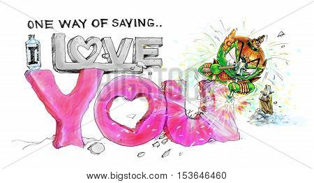 His name is Siam Gumphant Thai Giant Cartoon Stone Rock Carvings the word one way of saying I love you pink color illustration hand draw pencil sketch and graphic painting cartoon cute and funny.