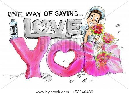 Biker embarrassed smile and beautiful bouquet flowers picked up a surprise moving blur cartoon charecter pencil sketch hand draw design he made Rock Carvings word One way of saying I love you Pink stone.