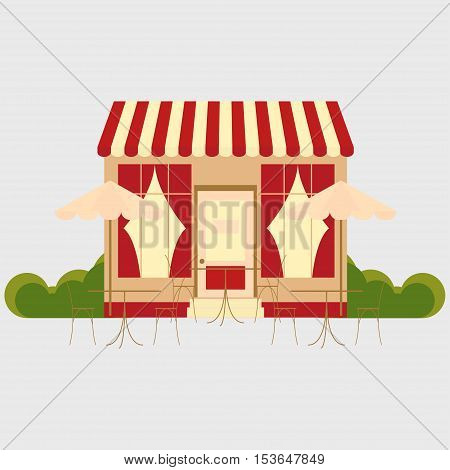 Cafe cafeteria Street shop building facade small store front restaurant design detailed illustration Vector
