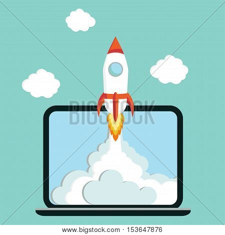 Laptop with Rocket quick Start up concept business project development vector illustration