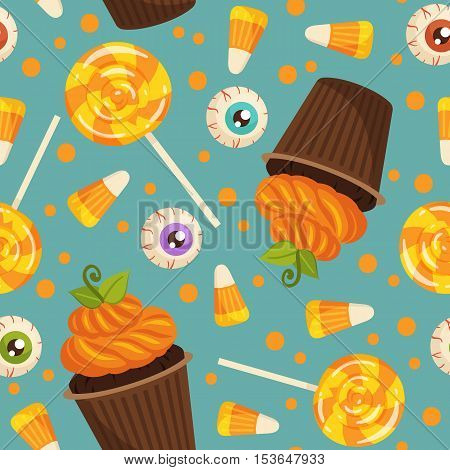 Halloween Pattern With Sweets On Turquoise Background. Cupcakes, Lollipop, Candy Corn And Evil Eye S