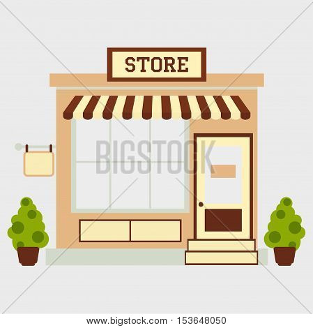 Street store building facade small shop front shopping design detailed illustration Vector