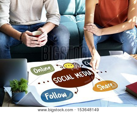 Social Media Online Chat Share Concept