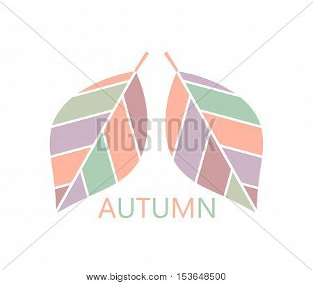 Autumn leaves in pastel colors symbol illustration