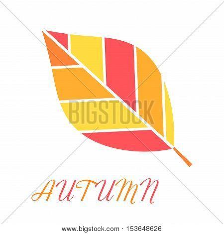 Autumn leaf icon.  Flat design illustration symbol