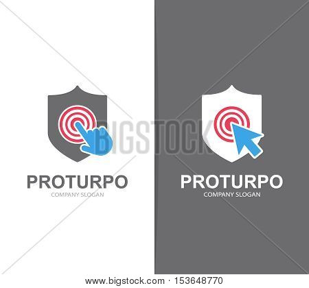 Vector shield and click logo combination. Security and cursor symbol or icon. Unique protect and defense logotype design template.