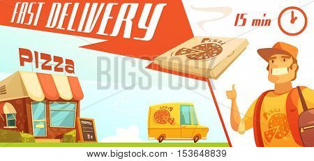 Fast delivery of pizza design concept with pizzeria courier yellow minibus with logo and box with hot pizza flat vector illustration