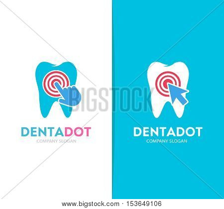 Vector tooth and click logo combination. Dental clinic and cursor symbol or icon. Unique dent and medical logotype design template.