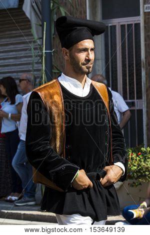 SELARGIUS, ITALY - September 11, 2016: Former marriage Selargino - Sardinia - portrait of a man in traditional Sardinian costume