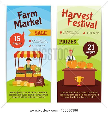 Flat design vertical banners presenting august farm market sale and harvest festival with prizes isolated vector illustration
