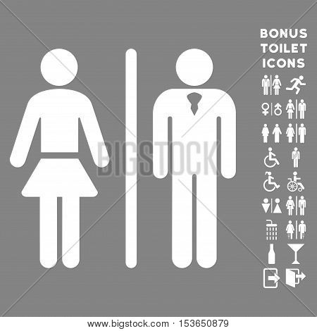 Toilet Persons icon and bonus gentleman and lady lavatory symbols. Glyph illustration style is flat iconic symbols, white color, gray background.
