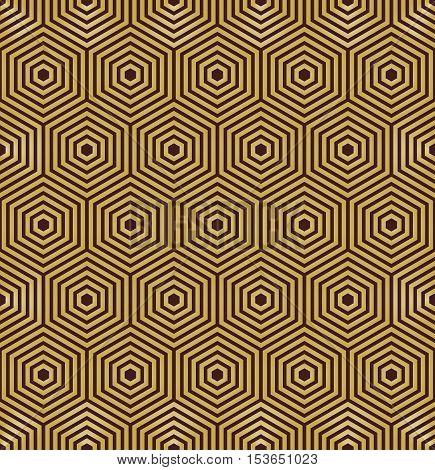Geometric fine abstract vector hexagonal brown and golden background. Seamless modern pattern