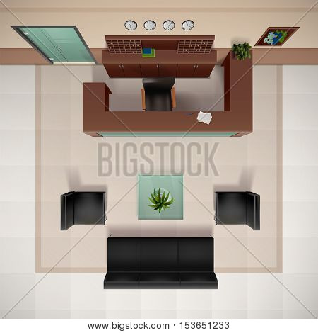 Foyer interior top view realistic background with chairs and sofa vector illustration