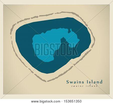 Modern Map - Swains Island AS American Samoa vector