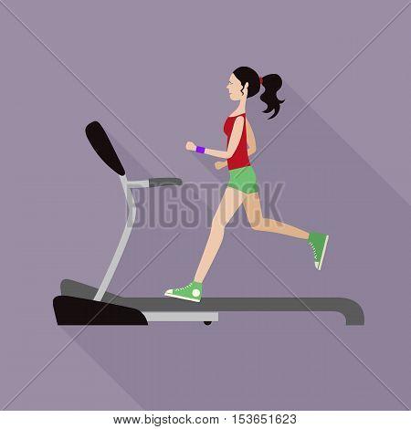 Vector illustration girl likes to run on the treadmill.