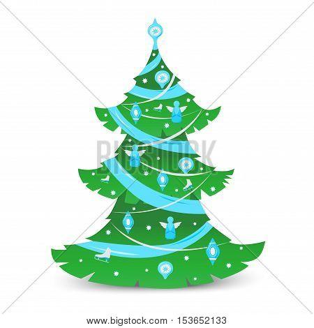 Christmas tree ornament star xmas gift design. Holiday celebration winter christmas tree. season decorative shiny christmas tree, festive pine bright card symbol.