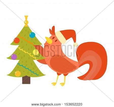 Cute cartoon rooster illustration. Cartoon rooster isolated on background. New Year 2017 symbol rooster with Christmas tree