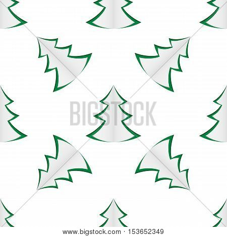 Seamless background of green christmas trees on white background. Vector illustration.
