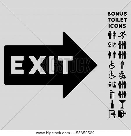 Exit Arrow icon and bonus male and woman restroom symbols. Glyph illustration style is flat iconic symbols, black color, light gray background.