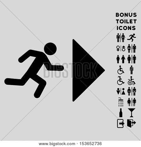Exit Direction icon and bonus gentleman and lady toilet symbols. Glyph illustration style is flat iconic symbols, black color, light gray background.