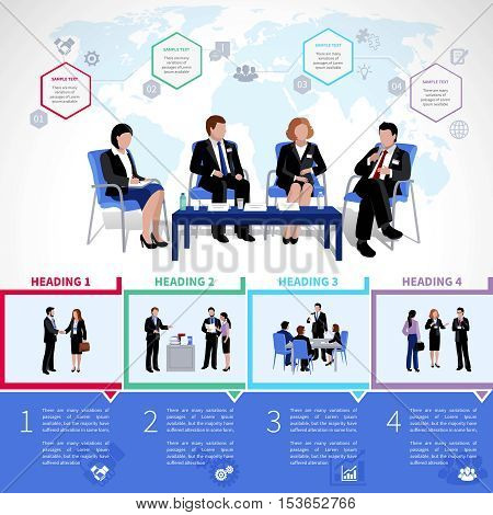 Meeting people infographics set with collaboration briefing analysis brainstorming consultation in flat style vector illustration