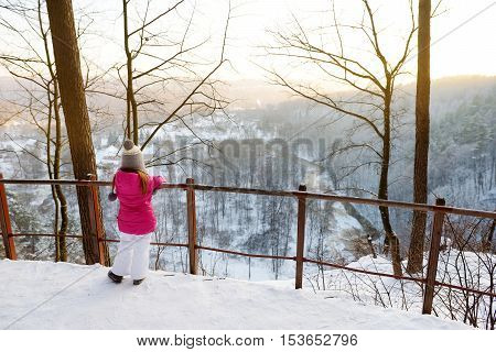Little Girl Admiring A View Of Vilnia River From Geological Puckoriai Exposure, Vilnius
