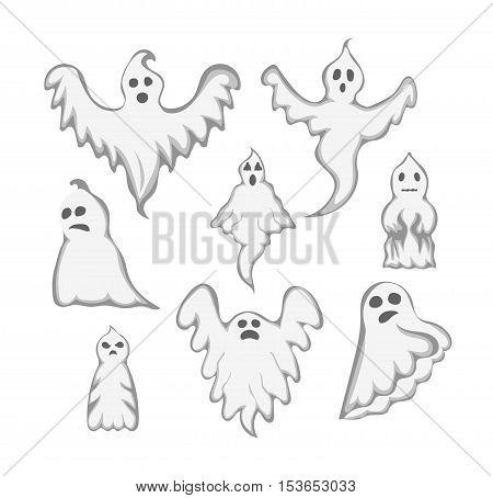 Cartoon spooky Ghost character vector.