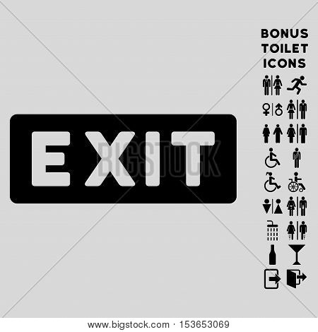 Exit Label icon and bonus male and female WC symbols. Glyph illustration style is flat iconic symbols, black color, light gray background.