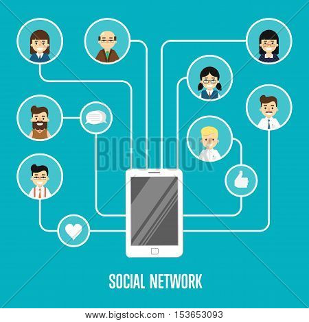 Round people icons connected with smartphone. Social network banner on blue background, vector illustration. Smiling cartoon characters. Teamwork concept. Global mobile communication