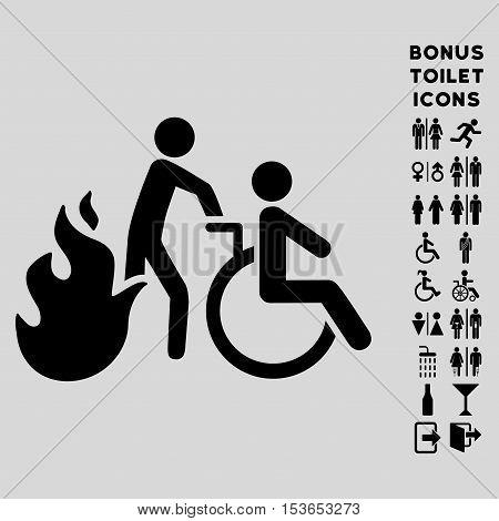 Fire Patient Evacuation icon and bonus man and female toilet symbols. Glyph illustration style is flat iconic symbols, black color, light gray background.