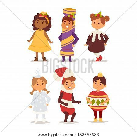 Illustration of cute kid carnival holiday costumes. People happy girl carnival costume kid little young dress. Fun holiday portrait cheerful carnival costume kid