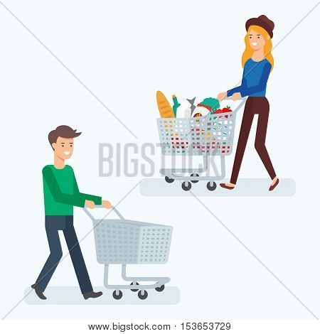 Vector illustration of a man with an empty shopping cart and a woman with a shopping cart full of food products