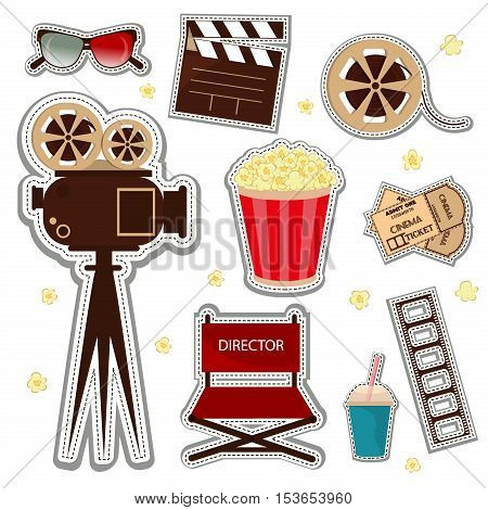 Vector cinema and watching movie icon set. Cinema patch icons entertainment video reel symbol. Film vector movie cinema patch icons design glasses set. Director chair popcorn and multimedia glasses.