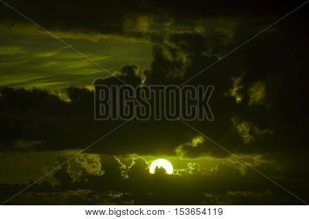 dark moody greenish sunset sky in the wild atlantic way