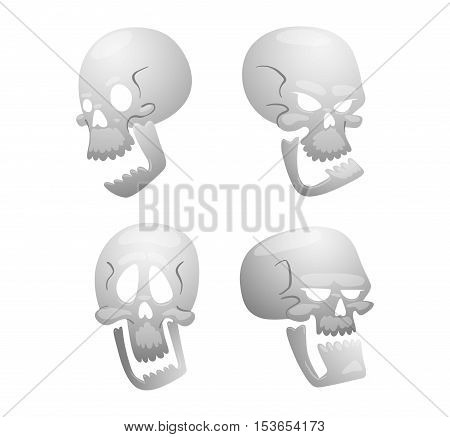 Skull bones human face illustration isolated on white background. Skull bones cartoon character design. Skull bones symbol.