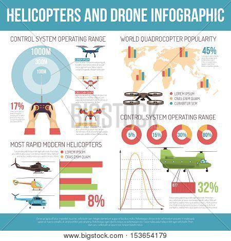Helicopters and drone infographics layout with copters technical parameters and information about most rapid modern models flat vector illustration
