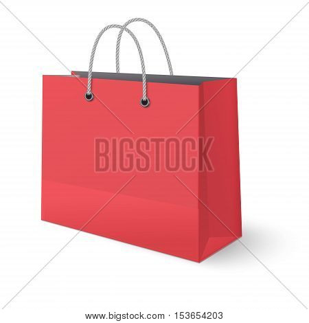 Red paper classic shopping bag isolated on white background