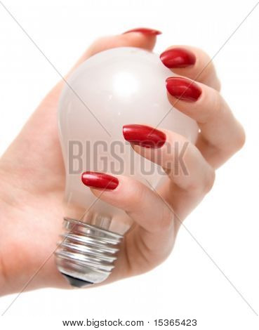 Holding bulb. Isolated on white.