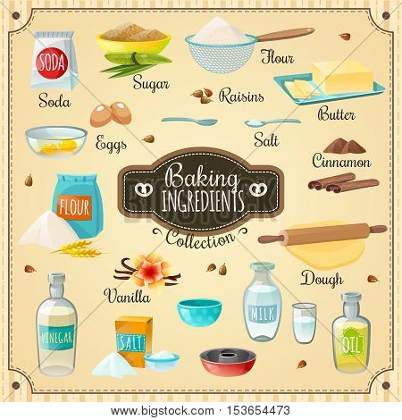 Cooking icons various baking ingredients for delicious pastry and necessary utensils flat isolated vector illustration