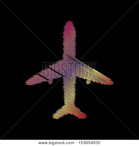 Airplane Sign Illustration. Coloful Chalk Effect On Black Backgound.