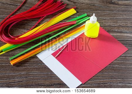 The Child Create Greeting Cards Origami Paper Honey And Garnet Tree Branch On A Wooden Table. Manufa