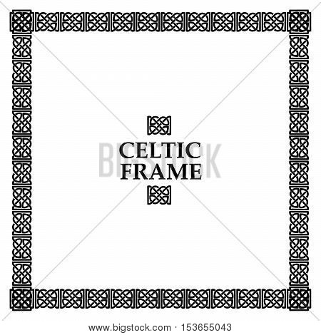 Celtic knot black and white frame. Ethnic abstract border.