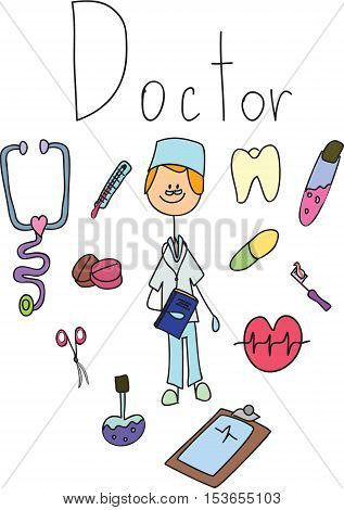 Vector children's doodle of doctor,for your design