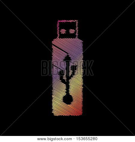 Vector Usb Flash Drive Sign. Coloful Chalk Effect On Black Backgound.